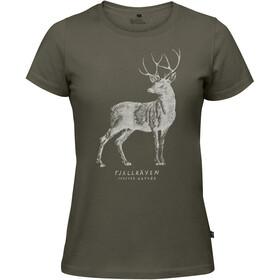 Fjällräven Deer Print t-shirt Dames groen
